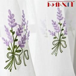 Luxury Embroidered Pink Lavender Flower Tulle Blue Curtains