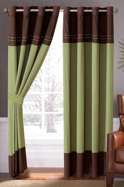 Luxury Embroidered Window Curtain Set Grommet 21106 Green Br