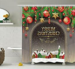 """Ambesonne Merry Christmas Shower Curtain - 70"""" Long x 69"""" Wi"""