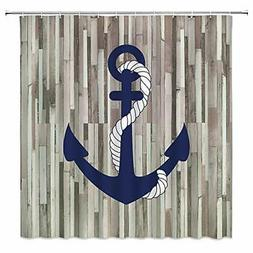 Nautical Anchor Shower Curtain Rustic Wooden Board Navy Blue