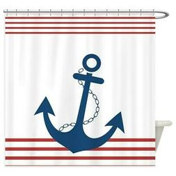 CafePress Nautical Stiped Design With Anchor Shower Curtain
