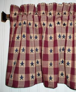 Navy Blue Stars on Berry Red Plaid Valance Primitive Country