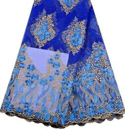 New design Royal Blue Beaded Embroidered roses Lace Fabric.G