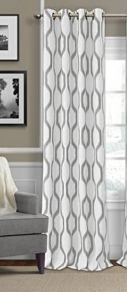 New~Grommet Panel Curtain/Drape~Grey/White~Renzo Ikat Geomet