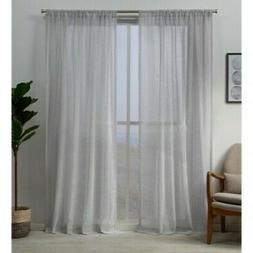 NEW Exclusive Home Hemstitch Sheer Window Curtains - Gray -