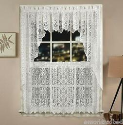 NEW Lorraine Home Fashions Hopewell Lace Kitchen Curtain - W