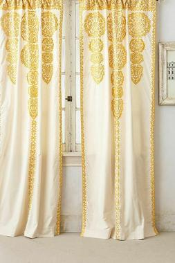 NWT Anthropologie Ivory Yellow Embroidered Marrakech Single