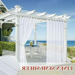 StangH Outdoor White Linen Look Privacy Semi-Sheer Curtain 8