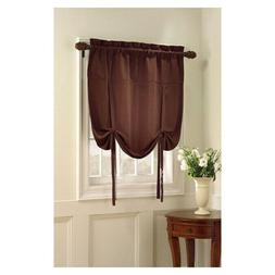 OXFORD Chocolate Brown Roman Window Valance Curtain Tie Up S