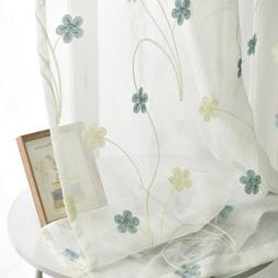 Pastoral Fresh Sheer Curtains Embroidery Tulle Home Valances