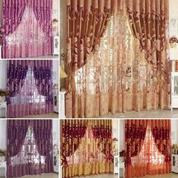 Peony Pattern Voile Curtains Living Room Window Curtain Tull