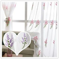 Pink Purple Lavender Embroidery Sheer Curtains White Tulle W