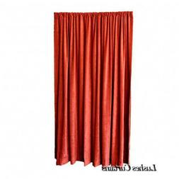 Red 108 inch Long Fire Treated NFPA 701 Velvet Curtain Panel
