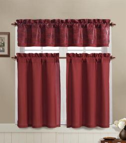 Red and Brown Kitchen Window Curtain Set : 2 Tier Panel Curt