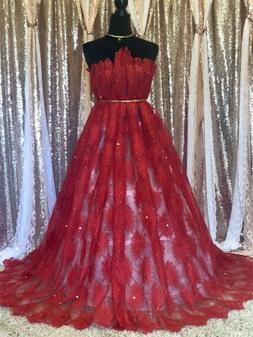Red Embroidered Lace Fabric. Beaded Rhinestone Wedding Lace,