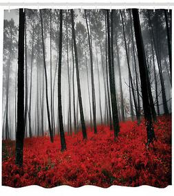 Red Gray Mystic Forest Shower Curtain Extra Long 84 Inch