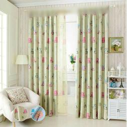 Ring Top Blackout Curtains Kids Room Lovely Cartoon Owl Prin