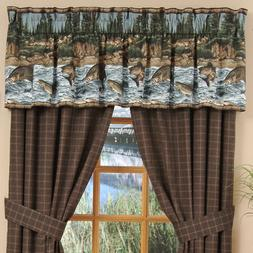 River Fishing Cotton Rod Pocket Curtain Panel Pair with Tieb