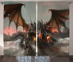 Scary Curtains Dragon Monster Fantasy Window Drapes 2 Panel