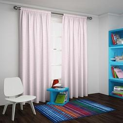 Eclipse My Scene Blackout Thermal Panel Curtains Pink White