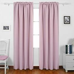 Set 2 Panel Thermal Insulated Blackout Curtain Rod Pocket Dr