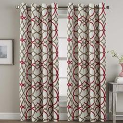 Set 2 Red Taupe Geo Curtains Panels Drapes 63 84 96 108 inch