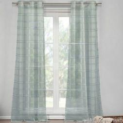 Set 2 Sheer Silver Striped Window Curtains Panels Drapes 84