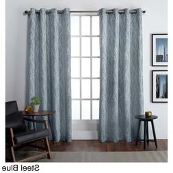 Set 2 Steel Blue Branches Trees Curtains Panels Drapes 84 96