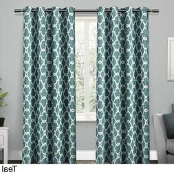 Set 2 Teal Blue Geo Curtains Panels Drapes 63 84 96 108 inch