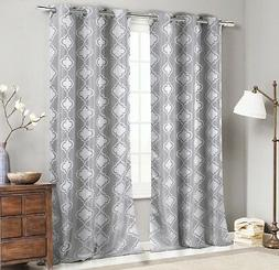 Set of Two  Jacquard Window Curtain Panels: Grommets, Silver