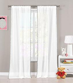 Set of Two  Sheer Pole Top Window Curtain Panels: Pure White