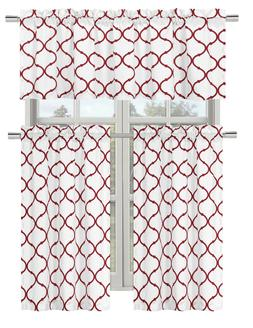 Regal Home Collections Shabby Trellis Kitchen Curtain Set -