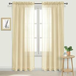 Dwcn Sheer Curtains Beige Rod Pocket Window Curtain For Bedr