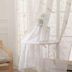 White Sheer Curtains for Living Room Voile Embroidered Birds