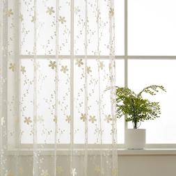 Sheer Curtains Lace Tulle Flower Embroidered Voile Fresh Bei