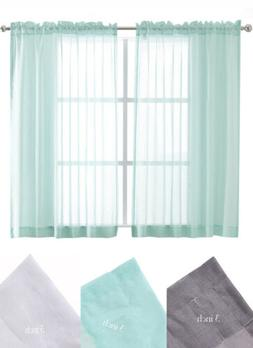 Sheer Curtains Rod Pocket Faux Linen Voile for Living Room,