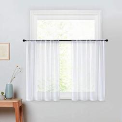 Short Sheer Curtains White 36 Inch Length Kitchen Tier Curta