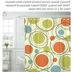"""Emvency Shower Curtain 60x72"""", With Hooks, Polyester, Mid"""