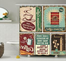 Ambesonne Shower Curtain Coffee 1950's Decor 84 Inch Length