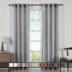 Abri Grommet Solid One Single Panel Crushed Sheer Curtain Wi