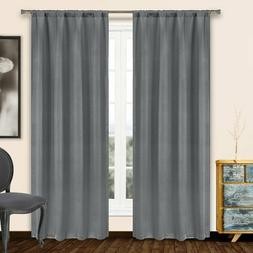 Solid Heavy Blackout Thermal Rod Pocket Window Curtain Pair