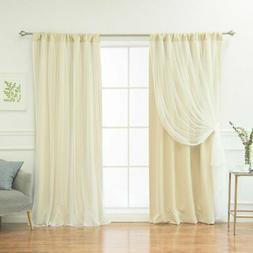 Best Home Fashion Solid Rod-Pocket Blackout with Tulle Overl