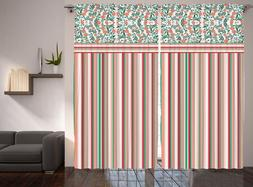 Striped Curtains Floral Leaves Colorful for Bedroom Living R