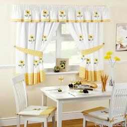 """SUNFLOWER YELLOW EMBROIDERED GINGHAM KITCHEN CURTAINS 66"""" X"""