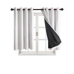 Deconovo Total Blackout Curtains White Grommet Thermal Insul
