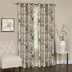 Tranquil Grommet Lined Curtain Panel Tan  Achim