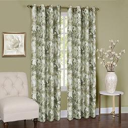 Tranquil Lined Grommet Curtain Panel, 84 L x 50 W, Green
