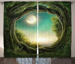 Ambesonne Trees Curtains, Trees in Enchanted Forest Full Moo