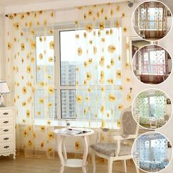 US Retro Floral Printed Tulle Voile Home Door Window Curtain