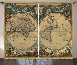 Vintage Curtains Old Map Ancient World Window Drapes 2 Panel